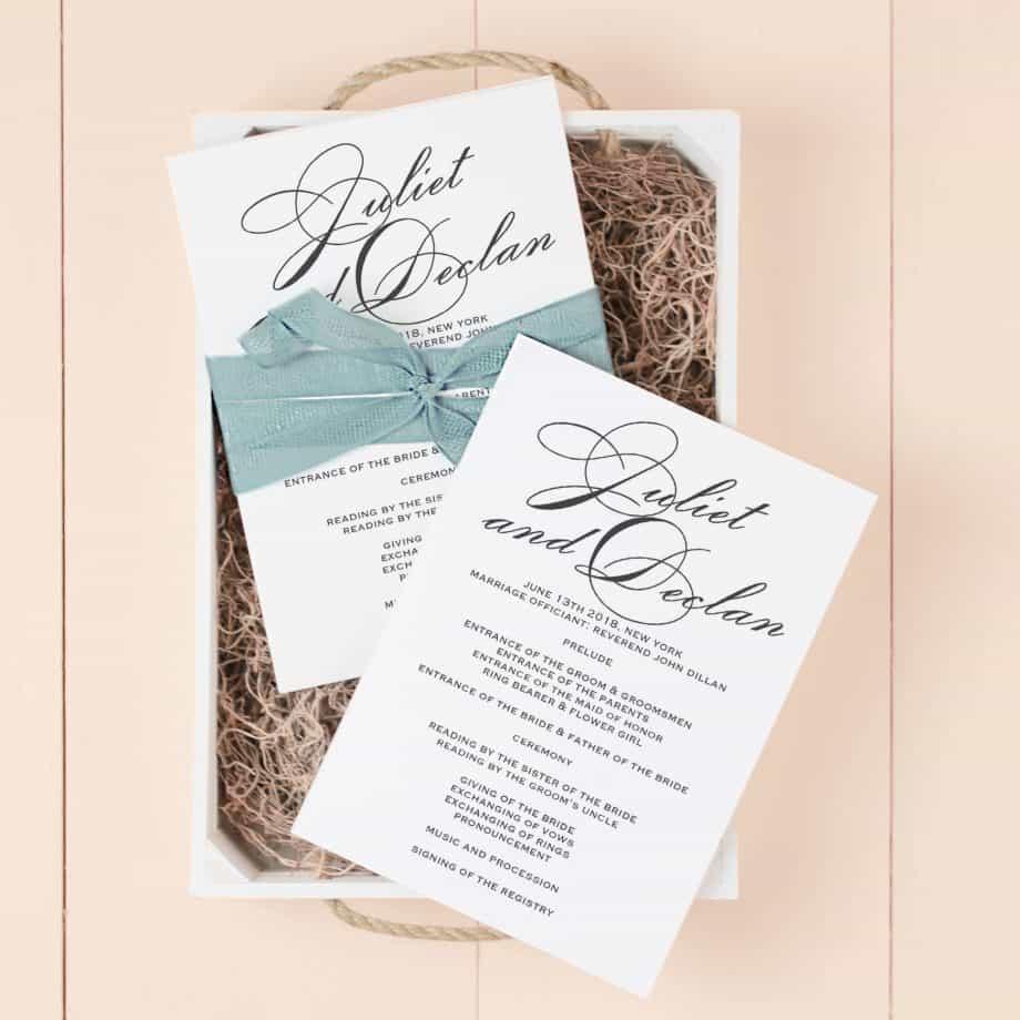 Wedding invitations wedding programme